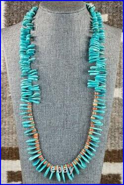 Turquoise, Spiny Oyster & Sterling Silver Necklace Native American