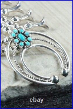 Turquoise & Sterling Silver Squash Blossom & Earrings Leon Kirlie