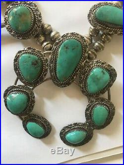 VINTAGE NAVAJO TURQUOISE STERLING SILVER SQUASH BLOSSOM NECKLACE Bluish Green