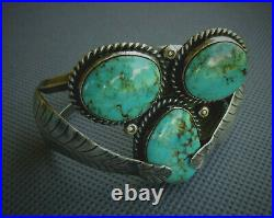 VINTAGE Old Pawn Native American NAVAJO Turquoise STERLING Cuff Bracelet WOW