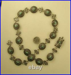 VINTAGE SOUTHWEST CONCHO BELT/HATBAND With TURQUOISE STERLING 32 LONG