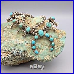 VINTAGE! Turquoise and Sterling Silver Squash Blossom Necklace Signed