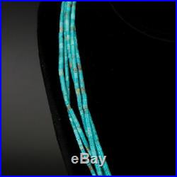 VTG Sterling Silver NAVAJO Santo Domingo Turquoise Heishi Bead 27 Necklace 35g