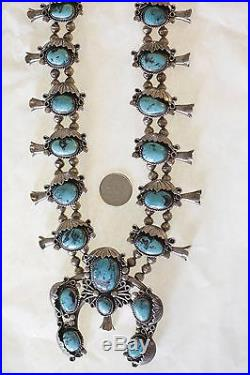Vintage 1950's Native American Navajo Sterling Silver Squash Blossom Necklace