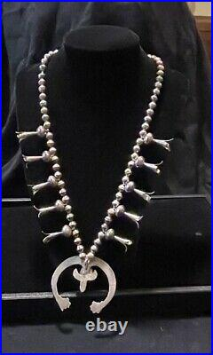 Vintage 24 Native Amer Navajo Squash Blossom Sterling Silver Turquoise Necklace