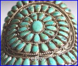 Vintage Benson Boyd signed Old Pawn PetitPoint. 925 Turquoise Cluster Bracelet