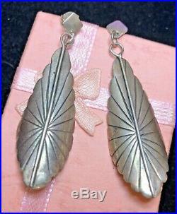 Vintage Estate Sterling Silver Native American Earrings Signed F. Ramone