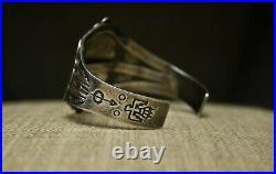 Vintage Fred Harvey Era Navajo Sterling Silver Turquoise Cuff Bracelet