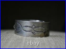 Vintage Harvey Era Native American Navajo Stamped Sterling Silver Cuff Bracelet