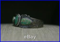Vintage Harvey Era Navajo Sterling Silver Cerrillos Turquoise Cuff Bracelet