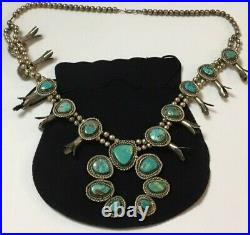 Vintage Large Sterling Silver 925 TURQUIOSE Squash Blossom Necklace 179.3 grams