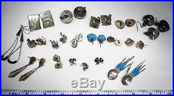 Vintage Lot Sterling Silver Navajo Zuni & Mexico Turquoise Earrings C2178