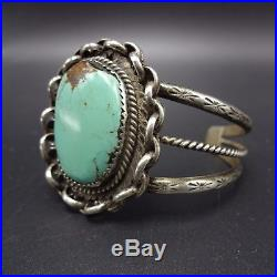 Vintage NAVAJO Hand Stamped Sterling Silver & TURQUOISE Cuff BRACELET 28.7g