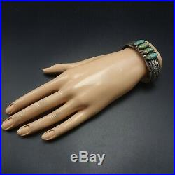 Vintage NAVAJO Hand-Stamped Sterling Silver TURQUOISE Cuff BRACELET 32.4g