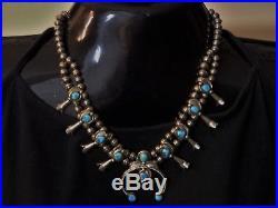 Vintage NAVAJO Pearls Arizona TURQUOISE gems STERLING Silver 20 SQUASH BLOSSOM