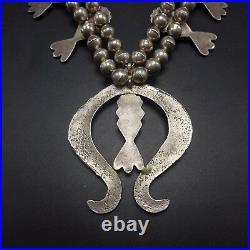 Vintage NAVAJO Sand Cast Sterling Silver & CORAL SQUASH BLOSSOM Necklace