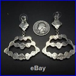 Vintage NAVAJO Sterling Silver & TURQUOISE Cluster Dangle Chandelier EARRINGS