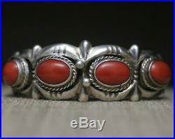 Vintage Native American Navajo Sandcast Coral Sterling Silver Cuff Bracelet