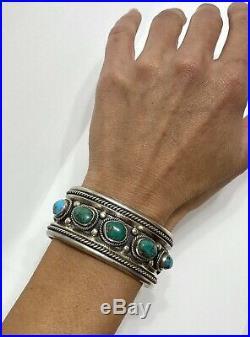 Vintage Native American Navajo Sterling Silver Turquoise Cuff Bracelet Nice