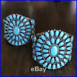 Vintage Native American Navajo Turquoise Cluster Cuff Bracelet Set. NO RESERVE
