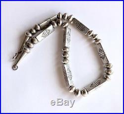 Vintage Native American Sterling Silver Hand Tooled Navajo Pearl Beaded Necklace