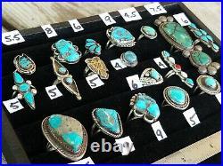 Vintage Native American Turquoise Sterling Silver 18 Ring LotNavajo & Zuni
