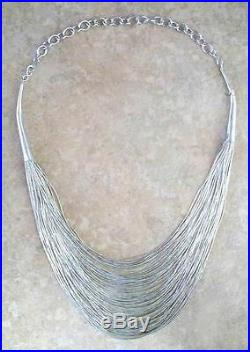 Vintage Navajo 75 Strand Sterling Liquid Silver Beads WATERFALL Choker Necklace