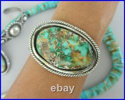 Vintage Navajo Green Royston Rough RUSTIC Sterling 6 Bracelet Cuff Small Wrist