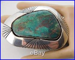 Vintage Navajo LEE YAZZIE Sterling Silver TURQUOISE Platform Belt Buckle