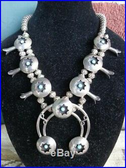 Vintage Navajo Native American Turquoise Cab Squash Blossom Silver Necklace