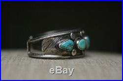 Vintage Navajo Native American Turquoise Sterling Silver Cuff Bracelet