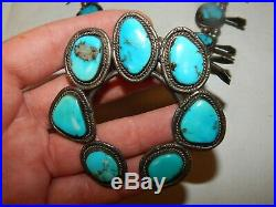 Vintage Navajo Pawn Turquoise Sterling Silver Squash Blossom Necklace 158 Grams
