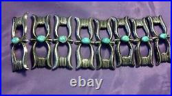 Vintage Navajo Sandcast Sterling Concho Belt Hat Band Silver Turquoise Old Pawn