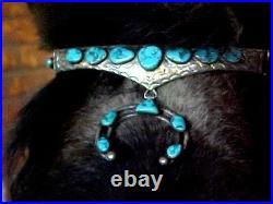 Vintage Navajo Sleeping Beauty Turquoise Bridle- Headstall-sterling Reins-bit
