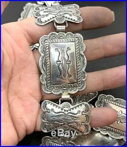 Vintage Navajo Southwestern Native American Sterling Silver Stamped Concho Belt