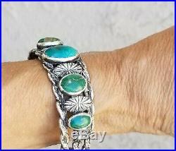 Vintage Navajo Sterling Silver 925 Green & Blue Turquoise Cuff Bracelet
