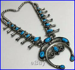 Vintage Navajo Sterling Silver Bisbee Turquoise Squash Blossom Necklace Unique