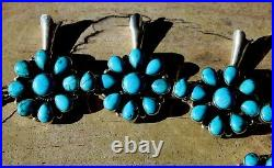 Vintage Navajo Sterling Silver & Blue Turquoise Stone Squash Blossom Necklace
