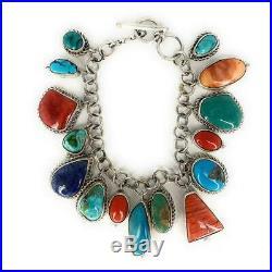 Vintage Navajo Sterling Silver Multi-Stone Charm Bracelet