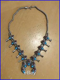 Vintage Navajo Sterling Silver Squash Blossom Necklace Turquoise & Coral