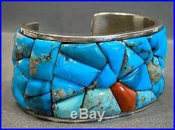 Vintage Navajo Sterling Silver Turquoise Coral Cobblestone Cuff Bracelet HEAVY