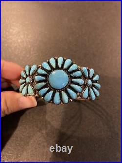 Vintage Navajo Sterling Silver Turquoise Flower Bracelet Signed T