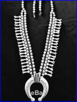 Vintage Old Pawn Hand Made Navajo Sterling Silver Squash Blossom Necklace 217g