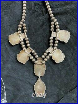 Vintage Old Pawn Navajo Silver coral and turquoise Squash Blossom Necklace