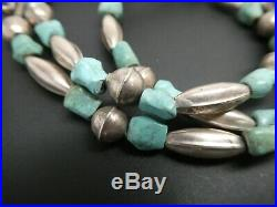 Vintage Old Pawn Navajo Sterling Naja Turquoise Gemstone Pendant Necklace 22
