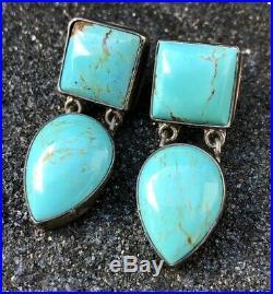 Vintage Old Pawn Navajo Sterling Silver Blue Gem Kingman Turquoise Post Earrings
