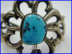 Vintage Pawn Navajo Signed Sterling Silver Sand Cast Turquoise Cuff Bracelet