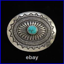Vintage Pete Morgan Navajo Sterling Silver Turquoise Concho Western Belt Buckle