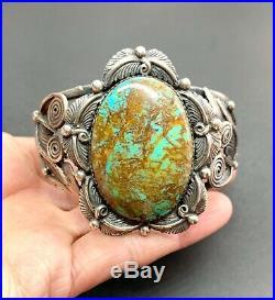 Vintage Signed Navajo Sterling Silver Royston Turquoise Cuff Bracelet 7 65 Gram