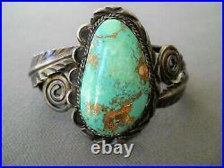 Vintage Southwestern Native American Navajo Turquoise Sterling Silver Bracelet